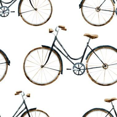 Watercolor bikes pattern
