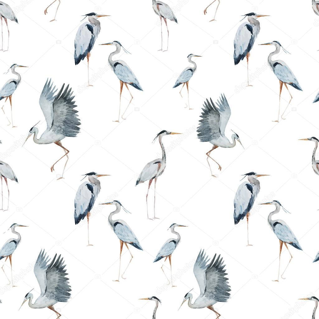 Watercolor heron pattern