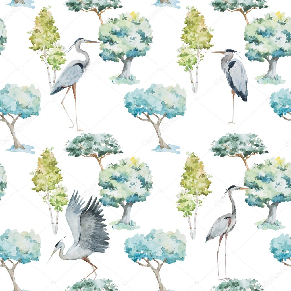 Watercolor herons and trees patterns