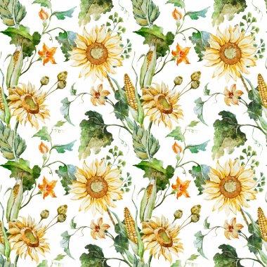 Watercolor sunflower pattern