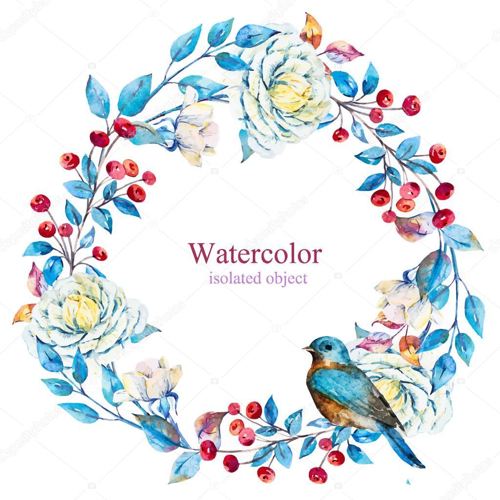Watercolor vector floral wreath