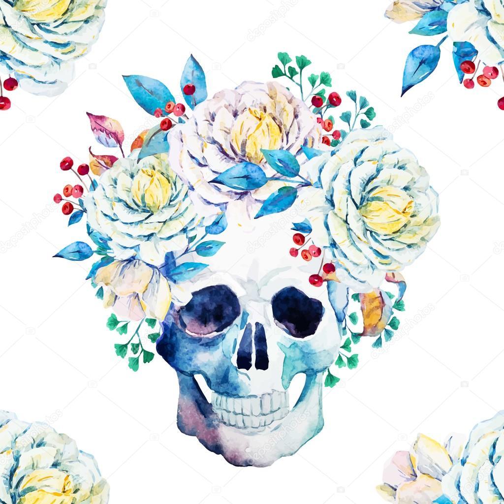 Watercolor vector skull pattern