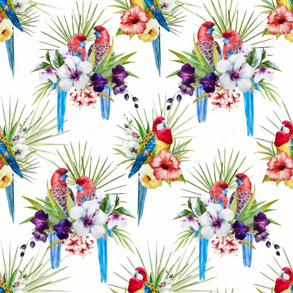 Watercolor vector rosella bird pattern