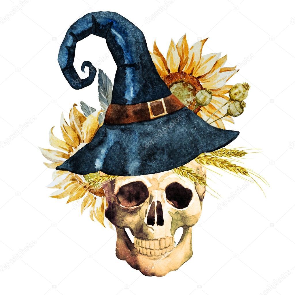 Watercolor halloween skull