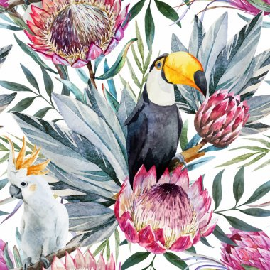 Vector tropical protea pattern