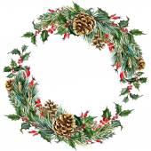 Corona di Natale dellacquerello raster