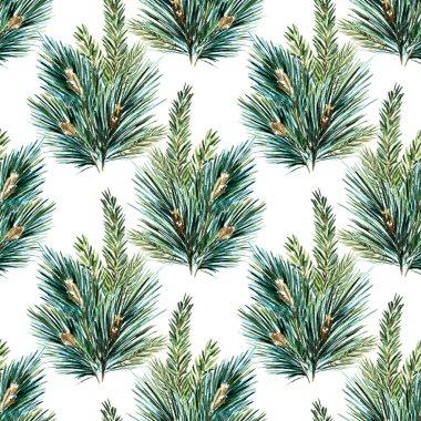 Raster watercolor christmas tree pattern