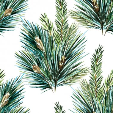Raster watercolor christmas tree pattern