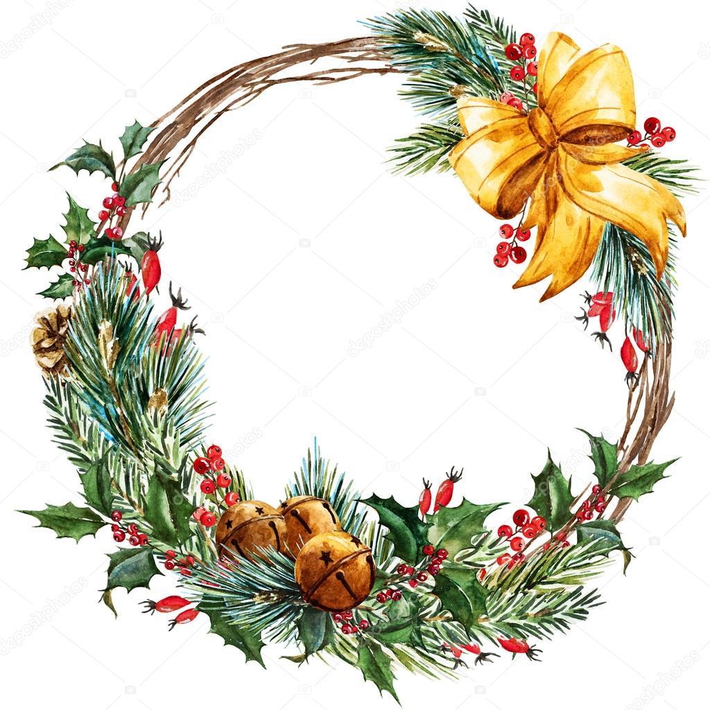 Raster watercolor christmas wreath