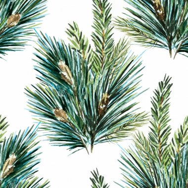 Vector watercolor christmas tree pattern