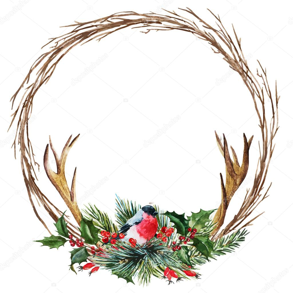 Christmas Wreath Vector.Vector Watercolor Christmas Wreath Stock Vector