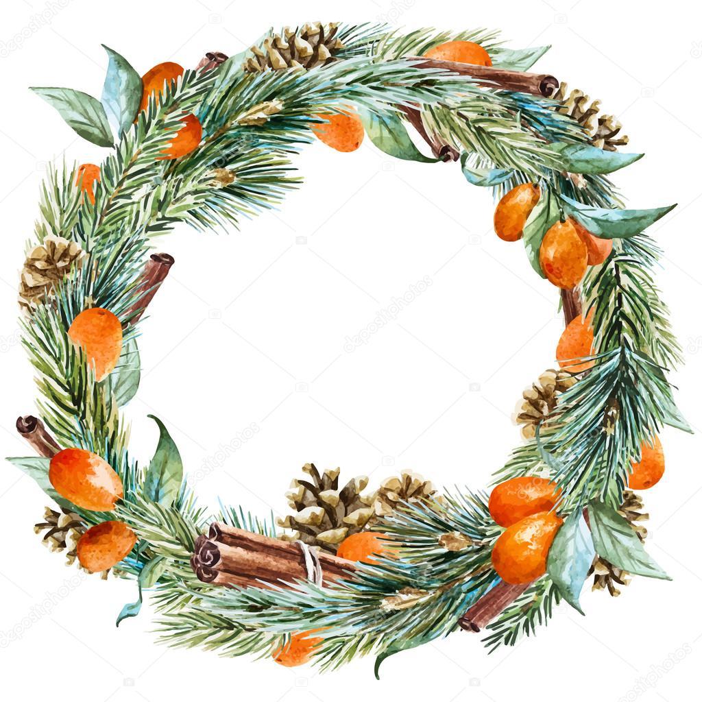 Vector watercolor christmas wreath