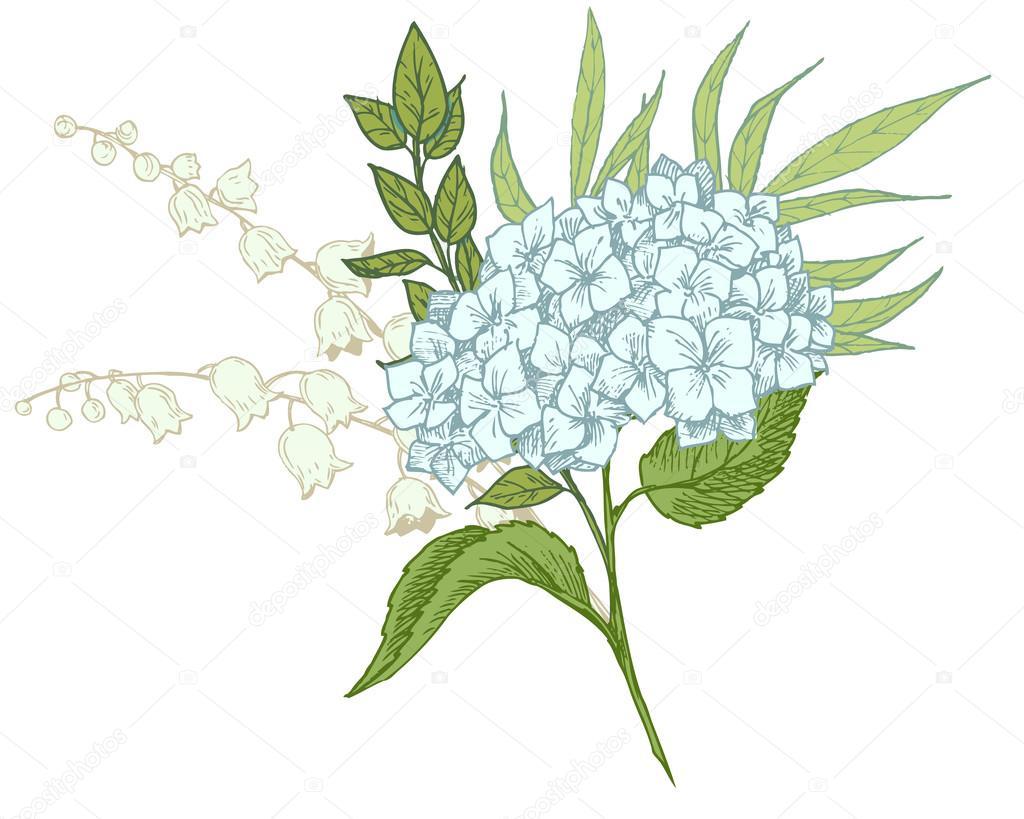 Hand-drawn floral bouquet