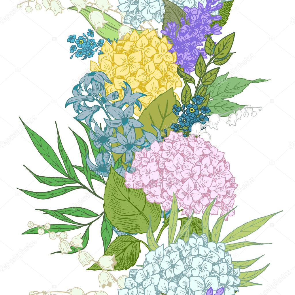 Vector floral stripe