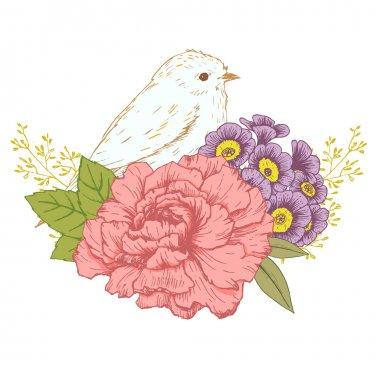 Hand drawn bird with flowers