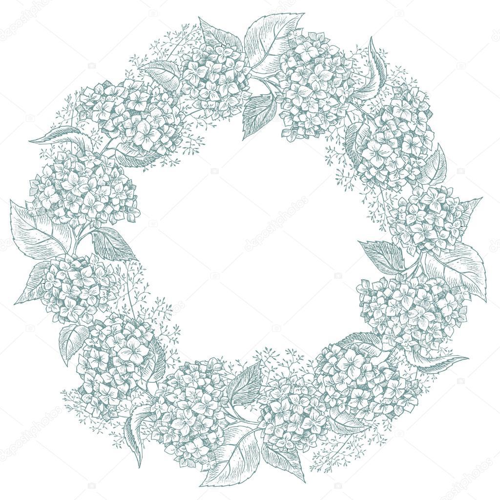 Hand drawn floral wreath