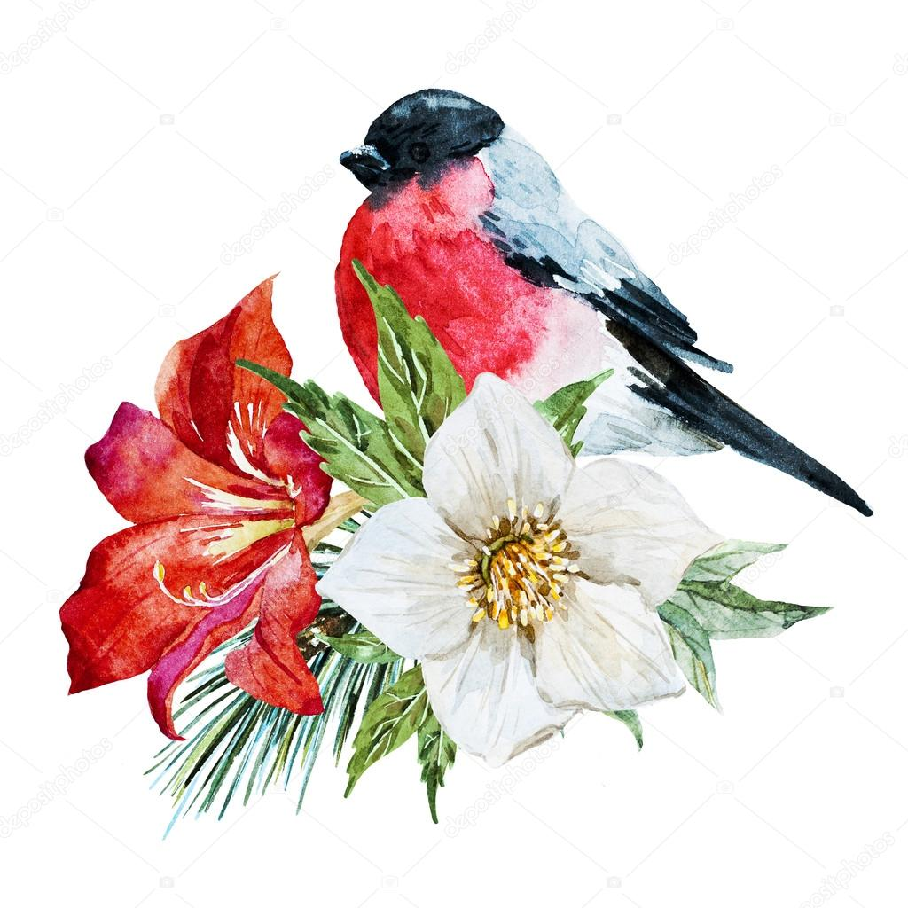 Flowers with bird