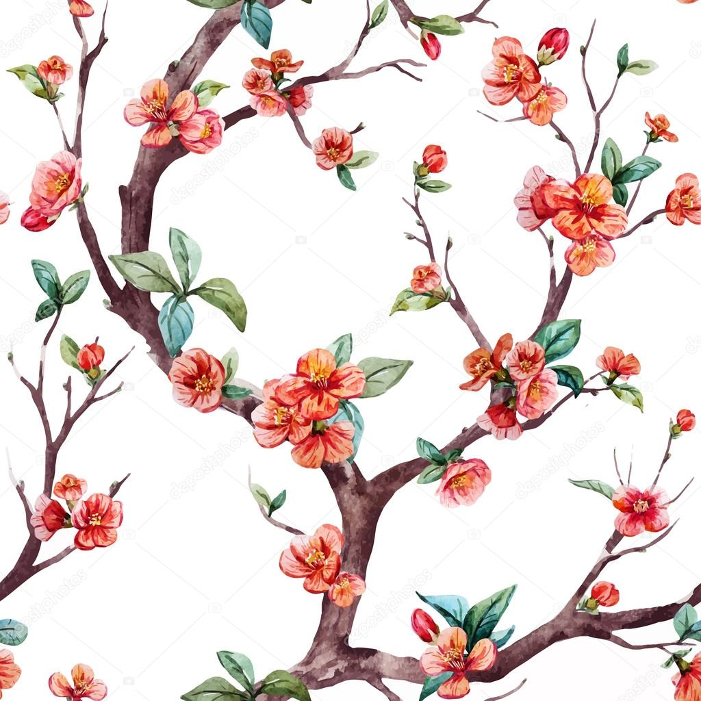 Watercolor vector sakura pattern