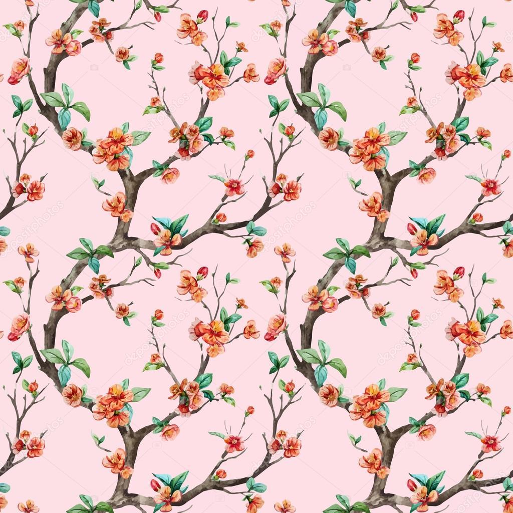 Watercolor vector sakura pattern