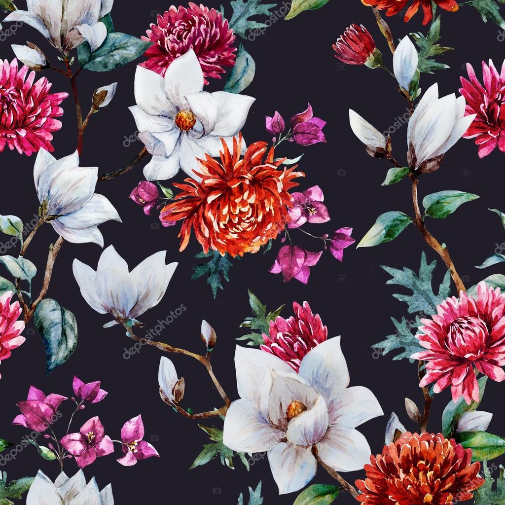 Watercolor raster floral pattern