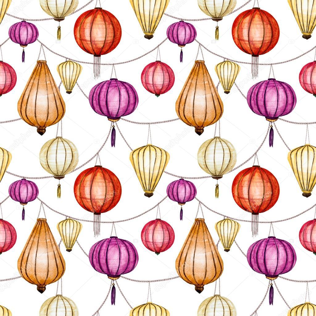 Watercolor raster seamless chinese pattern