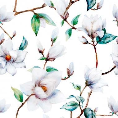 Watercolor vector magnolia pattern