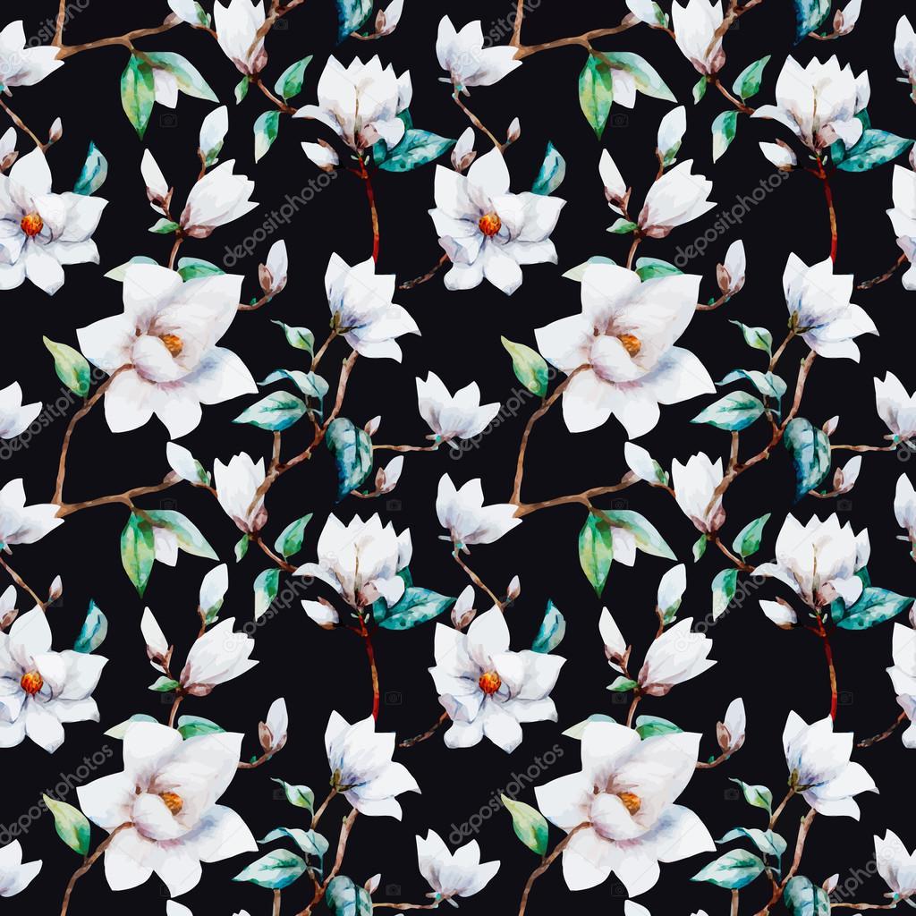Watercolor vector magnolia pattern