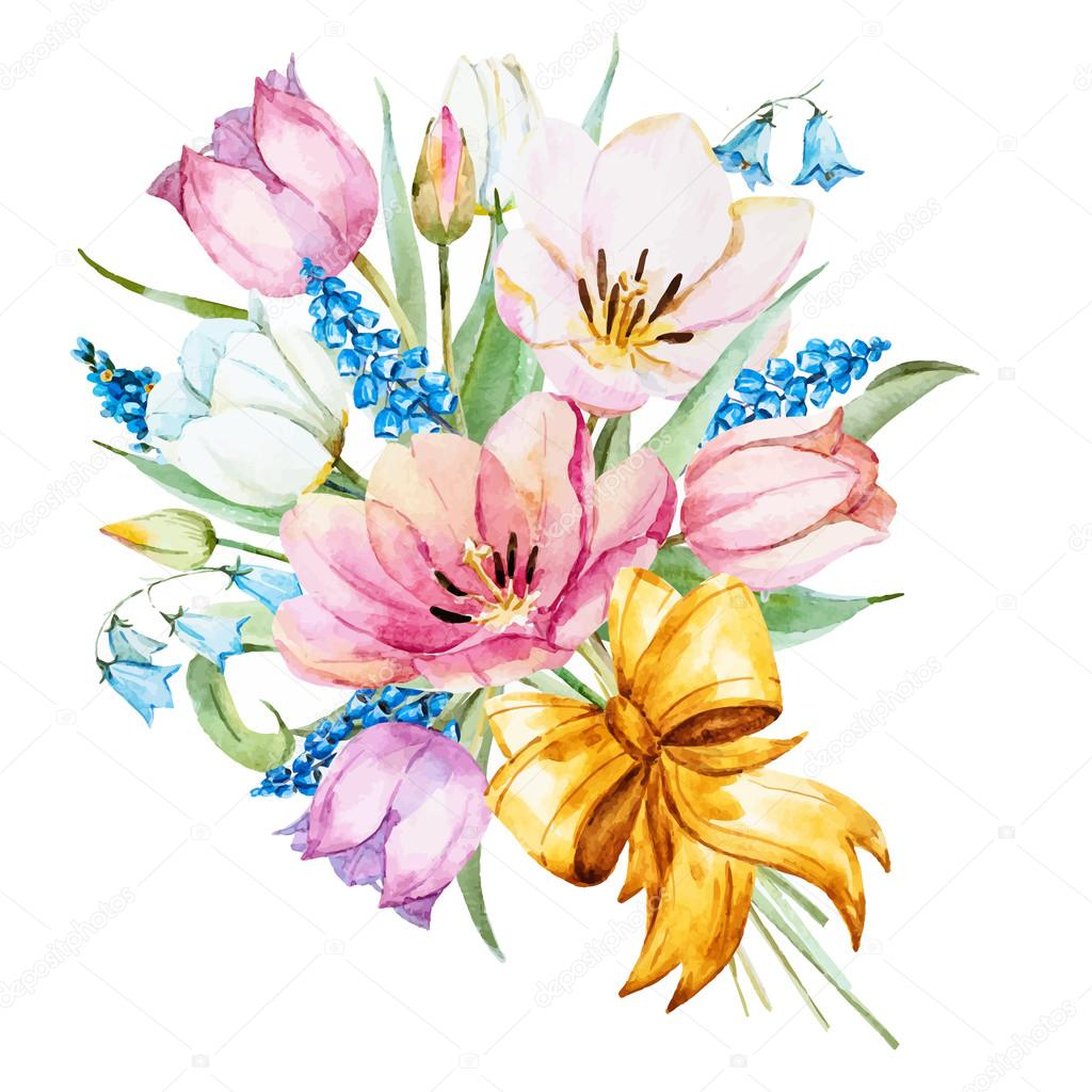 Watercolor vector spring flowers
