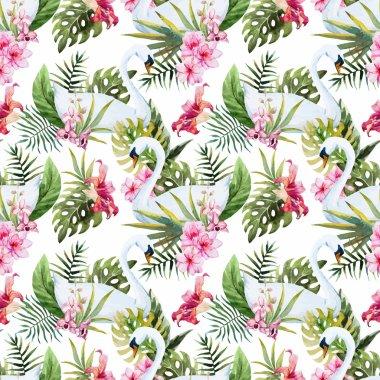 Watercolor swan pattern