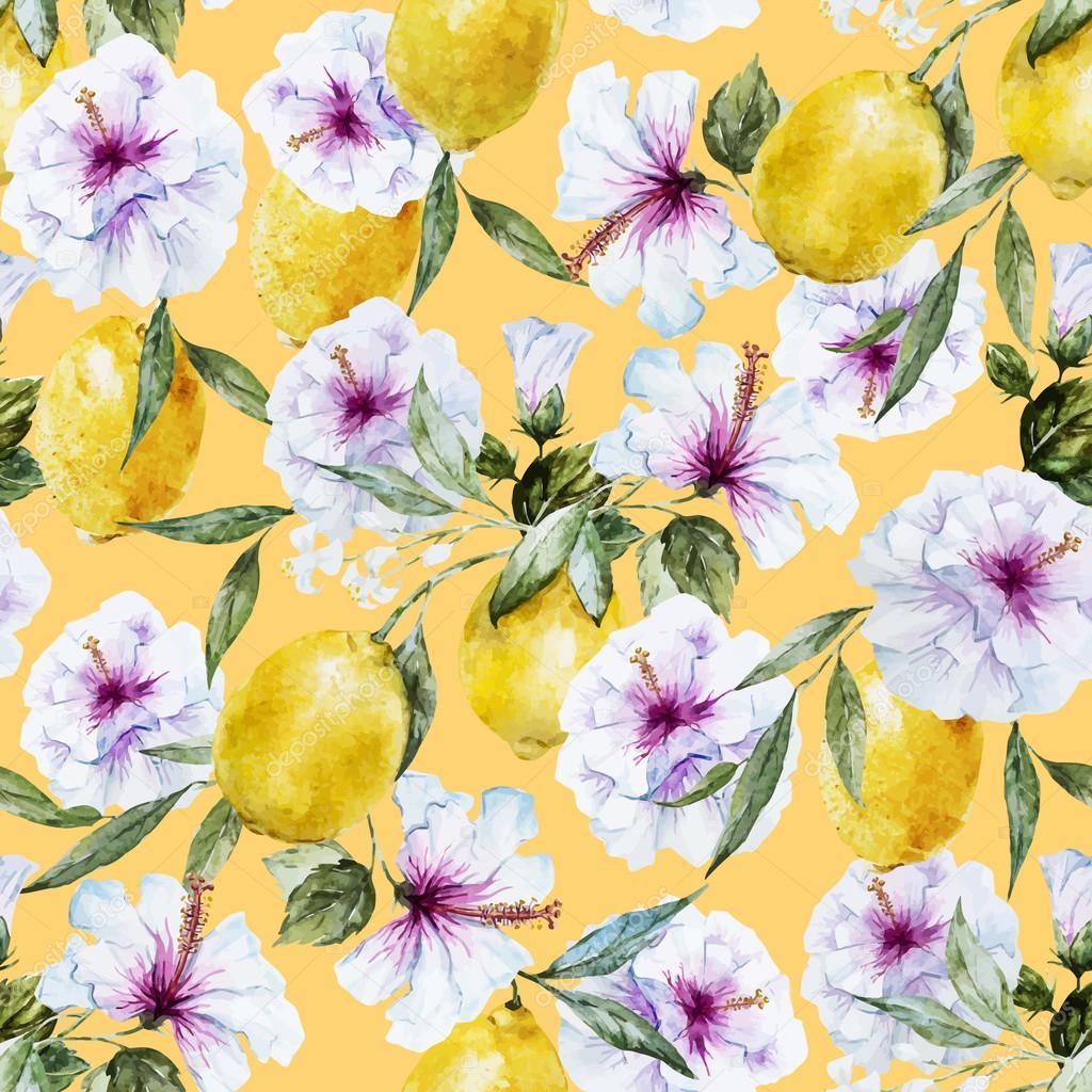 Watercolor vector lemon pattern