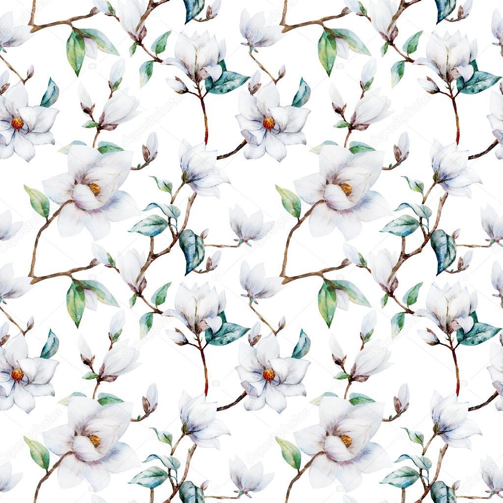 Watercolor raster magnolia pattern