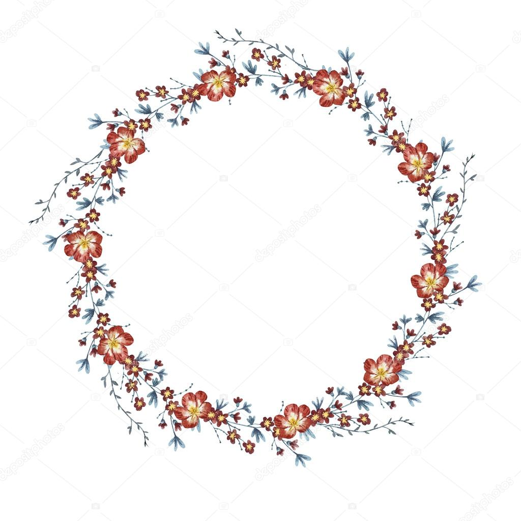 Watercolor floral wreath raster