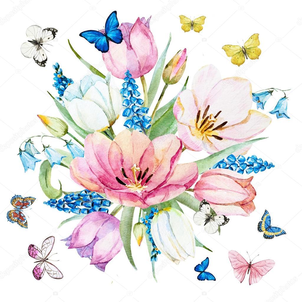 Watercolor raster spring flowers