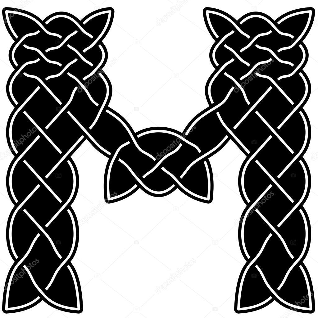 c09bc5cc9025 Letra de blanco y negro M escrito en el viejo estilo tradicional de  escandinavos vikingos, druidas, celtas y árabes. Carta de presentación está  llena de ...