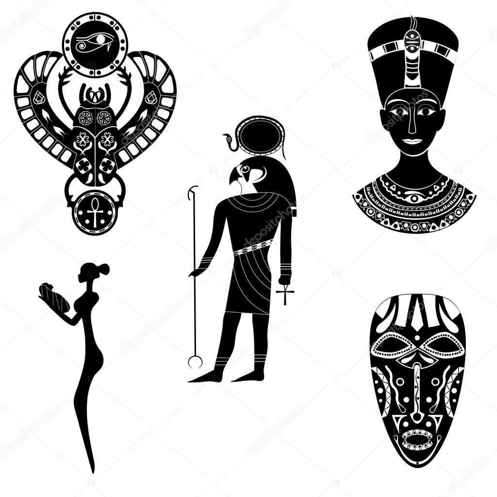 Black white silhouettes of the ancient god of the egyptian ra black white silhouette of the ancient egyptian god ra pharaoh nefertiti or cleopatra scarab beetle an african woman with a baby and shamanic tribal buycottarizona