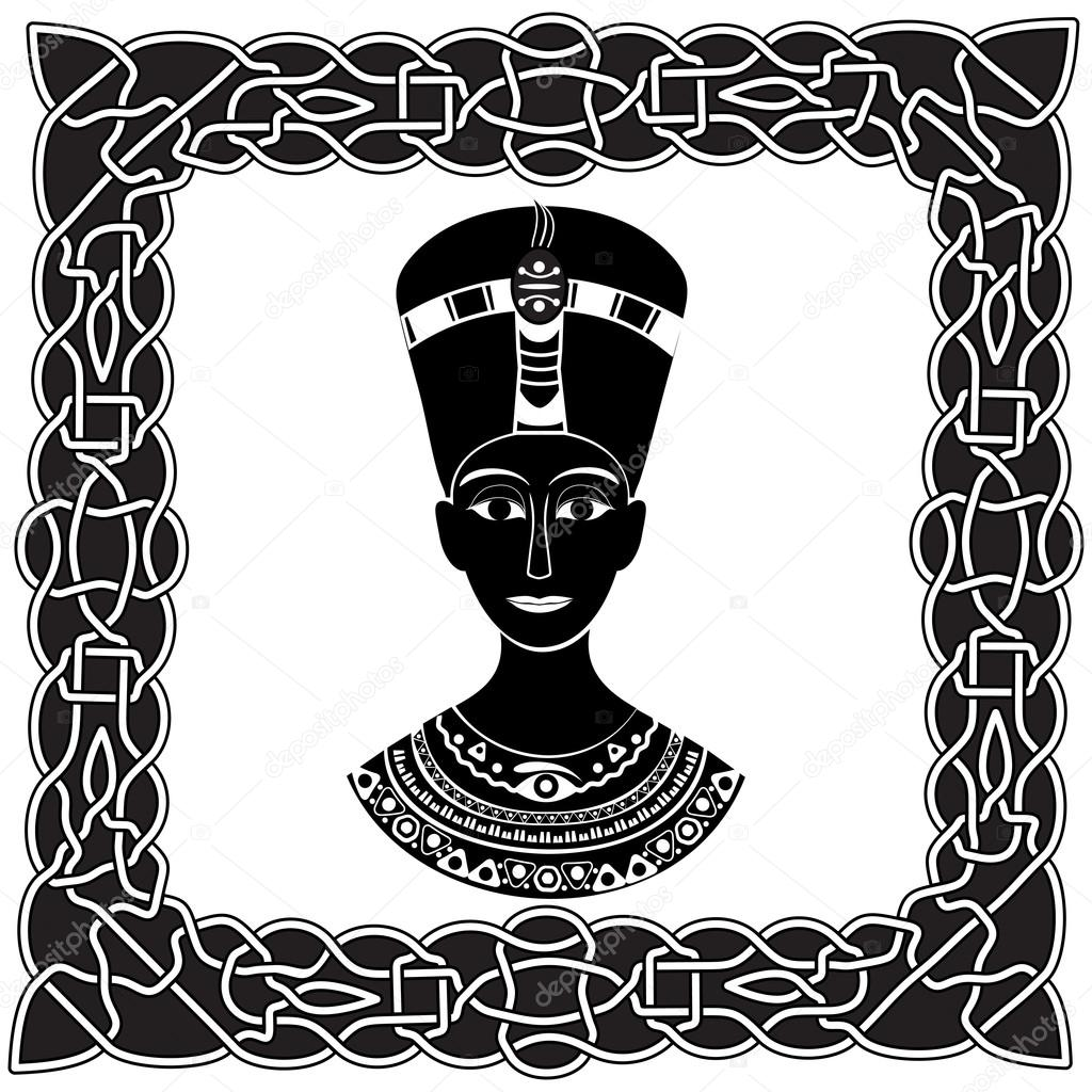 Noir Blanc Silhouette Nefertiti Pharaon Ou Cléopâtre Dans