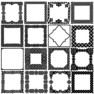 Black - white set of sixteen frames in Celtic, Arabic, Indian st