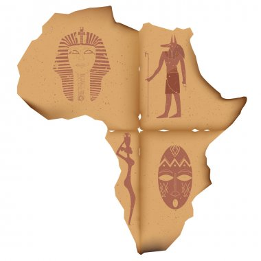 Old paper in the shape of the African continent with the images