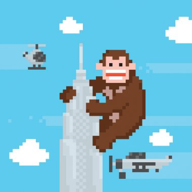 Gorilla on a top of skyscraper old school pixel art vector