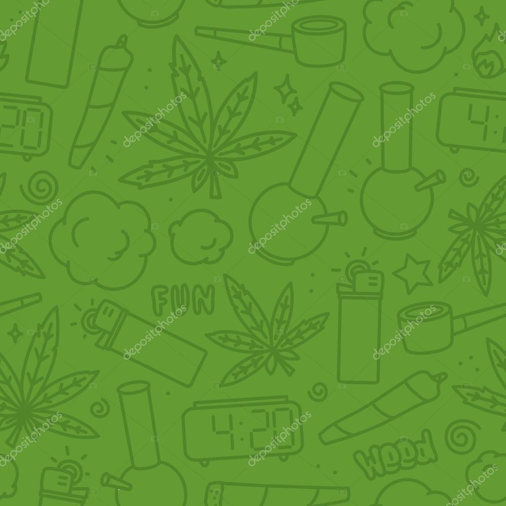 Marijuana weed cartoon seamless vector pattern green