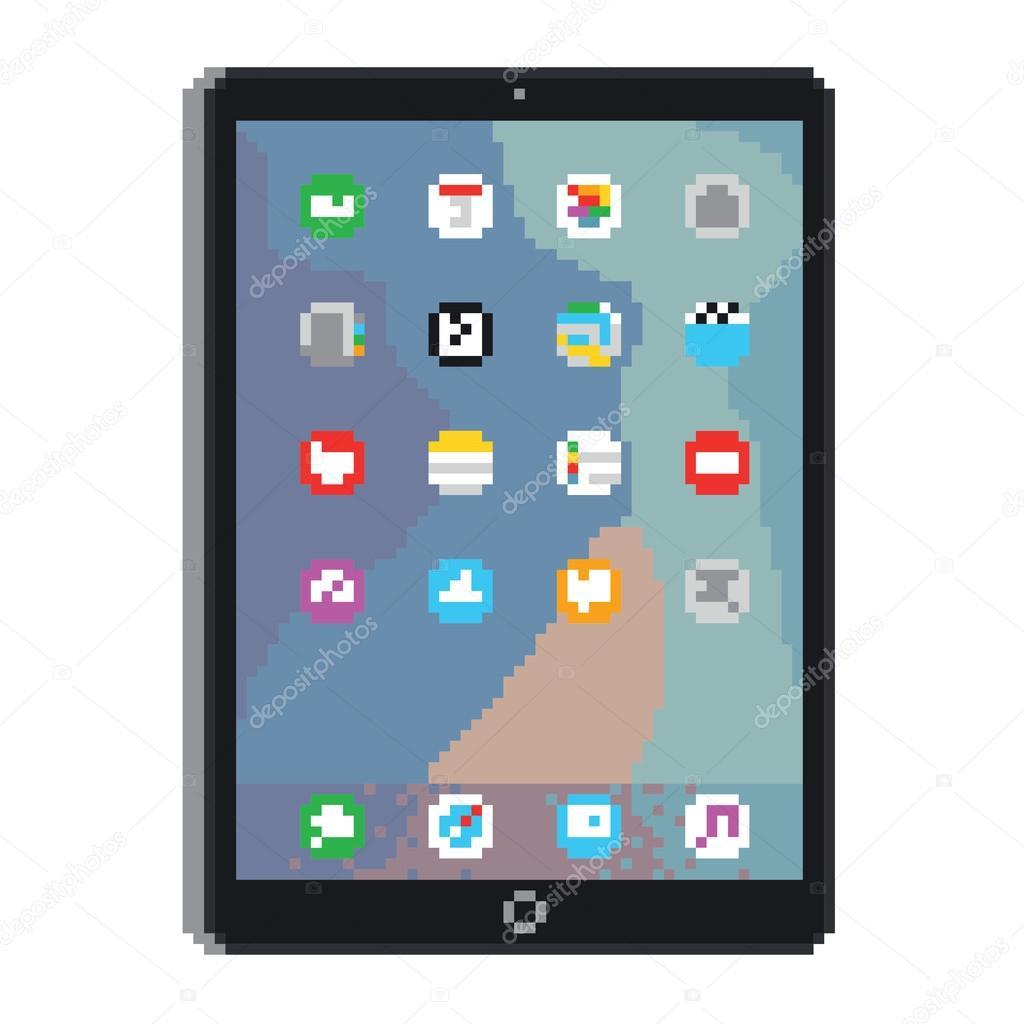 Gadget De Tablette Pixel Art Style Image Vectorielle