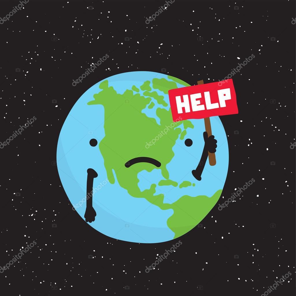 Planet Earth need help cartoon vector — Stock Vector ...
