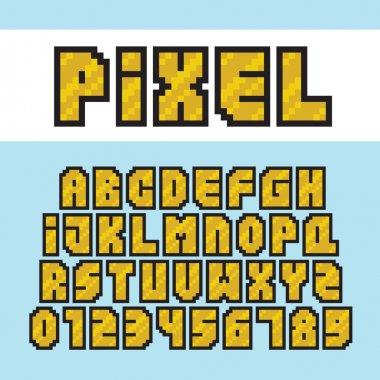 Pixel art style golden alphabet and numbers vector font set