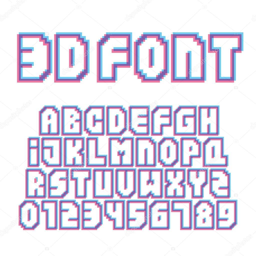 Pixel Art Style Effet Stéréo Lettres Et Chiffres Set Vector