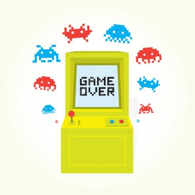 Game over arcade machine. Isolated vector illustration. stock vector