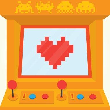 Be my retro valentine arcade machine isolated vector illustration stock vector