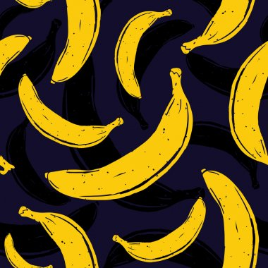 Pop art banana seamless vector pattern