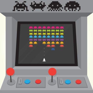 Invaders arcade machine vector illustration stock vector
