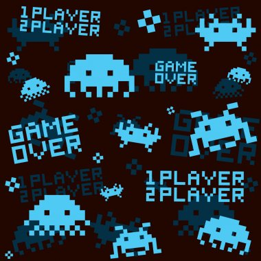 Black space invaders seamless vector pattern stock vector