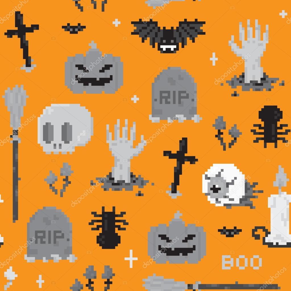 Halloween pixel art pattern — Stock Vector © dmitriylo #58512341